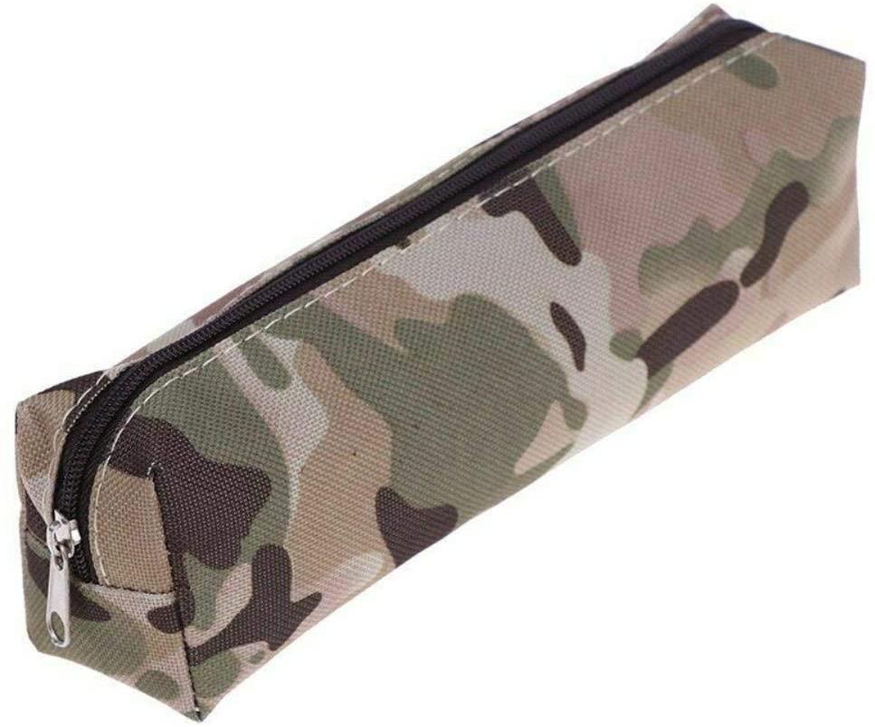 Camo Pencil Case,Pencil Case Camouflage Boy School Canvas Bag Stationery Supply Office Pouch,Khaki