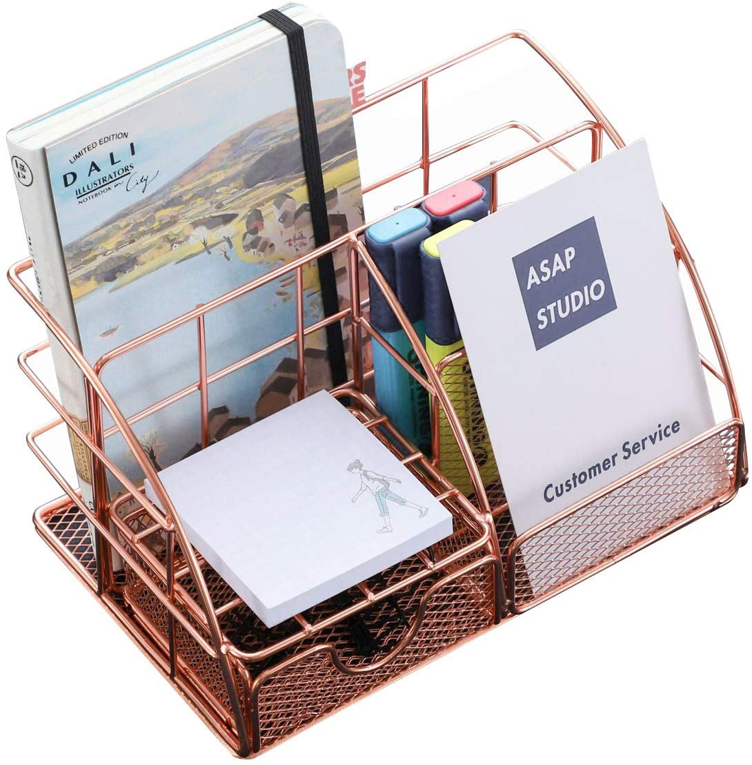 Rose Gold Desk Organizer Grid Panel Office Collection with 5 Compartments + 1 Mini Sliding Drawer, Pen Pencil Holder Multifunctional Table Top Accessories Storage Holder for women,Desk Tidy Caddy