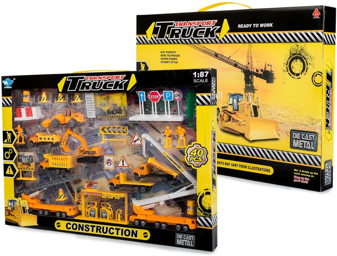 Big Daddy Construction Toy Set Perfect Kids Construction Play Set with Over 40 Pieces of Kids Construction Toys to Create The Perfect Imaginitive Construction Zone