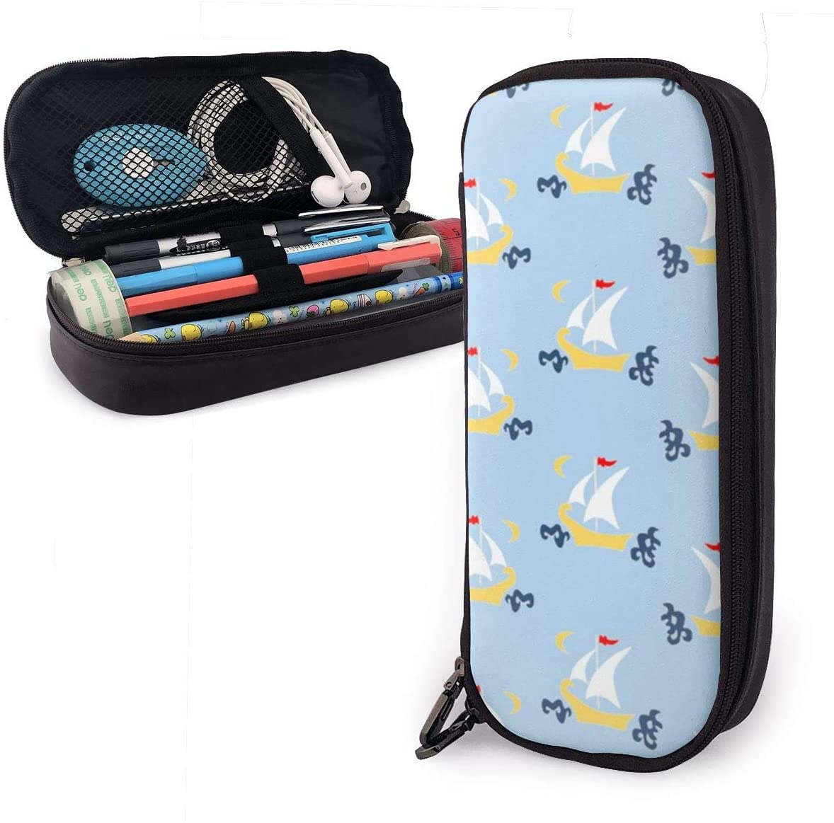 NiYoung Fashion Big Capacity Pencil Pen Case Stationery Box Desk Organizer with Zipper Storage Pouch Holder for School & Office Supplies - Sailboats Blue