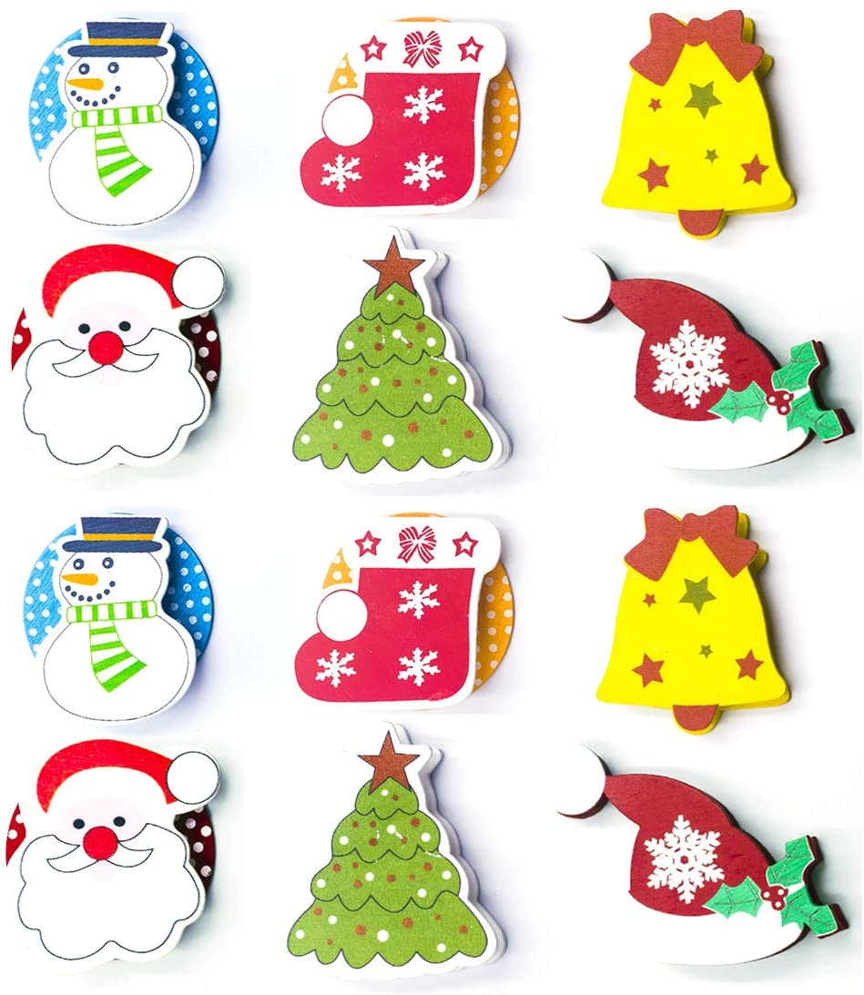 12 Pcs,Creative Christmas Wooden Cartoon Painted Fixed Note Clip Holder,Bells Christmas Tree hat Santa Claus Snowman Stockings,2.56×2.56 inch