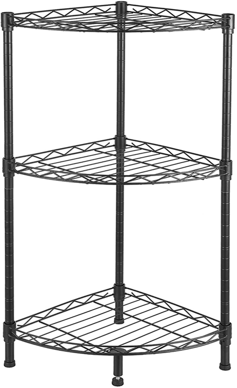 DOLMER 3-Tier Corner Wire Shelving Industrial Vintage Standing Shelf Unit, Modern Organizers