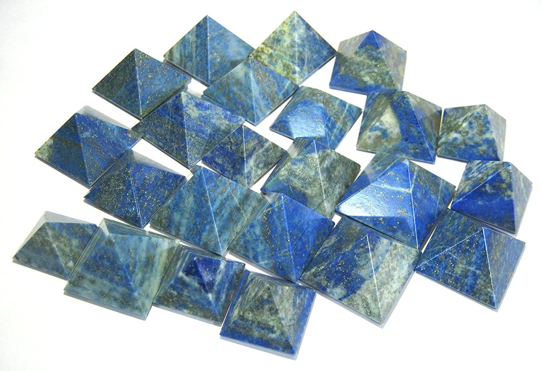 Crystal Miracle Powerful Fifty Lapis Lazuli Big Loose MNI IPYRAMIDS Crystal Healing Home Office Gift Reiki FENG Shui Bagua Psychic Energy Throat Chakra BALANACER Health Wealth Bagua Gemstone Peace