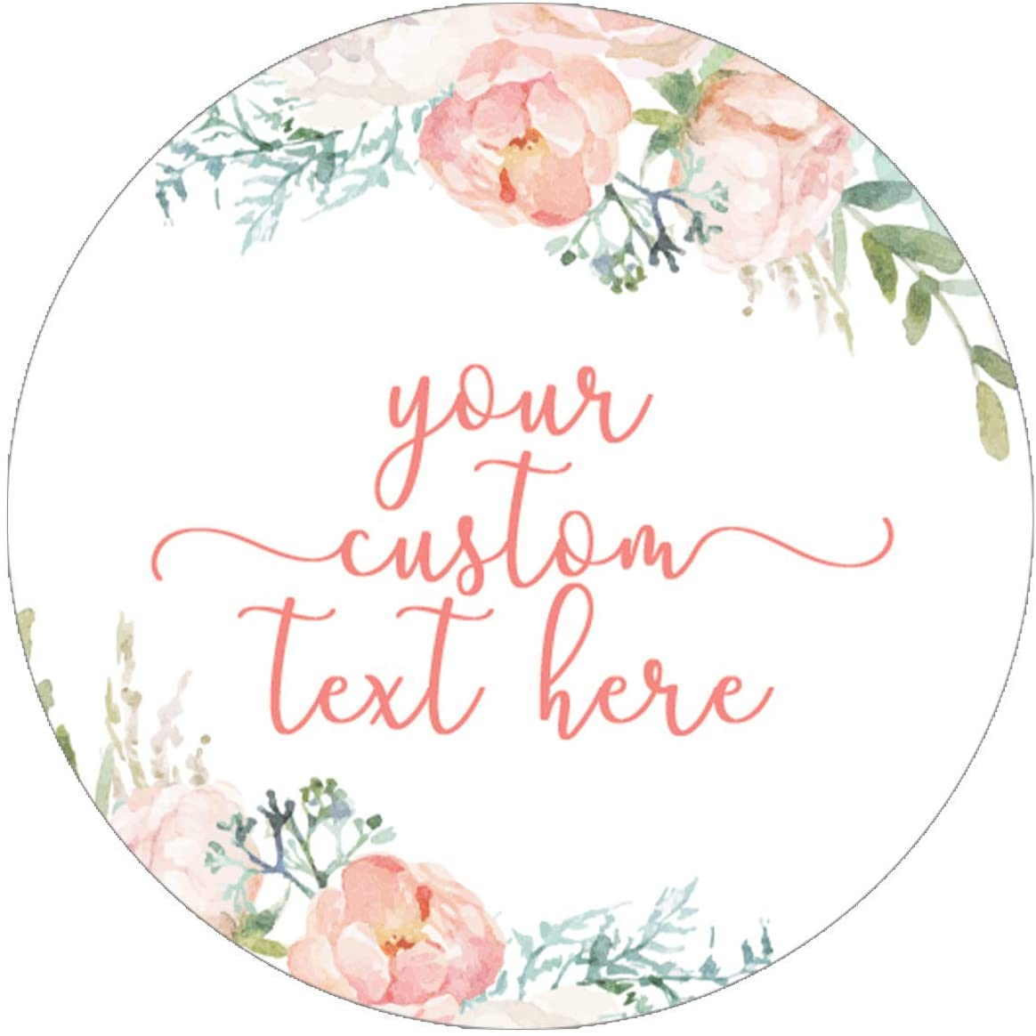Personalized Pink Floral Party Favor Labels - 1.75 in - 40 Stickers