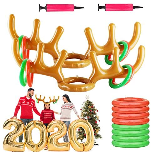 Christmas Inflatable Reindeer Antler Hat with Rings,Inflatable Ring Reindeer Antler Toss Game with Air Pump, (2 Inflatable Antler,10 Toss Rings and 2 Air Pump),Great Family Christmas Party Games.