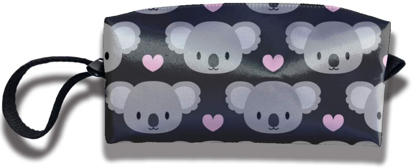 antkondnm Cute Koalas and Pink Hearts Travel Makeup Pouch Pencil Case Stationery Organizer School Supplies for College Students with Zipper for Adults Men Women Boys Girls Kids