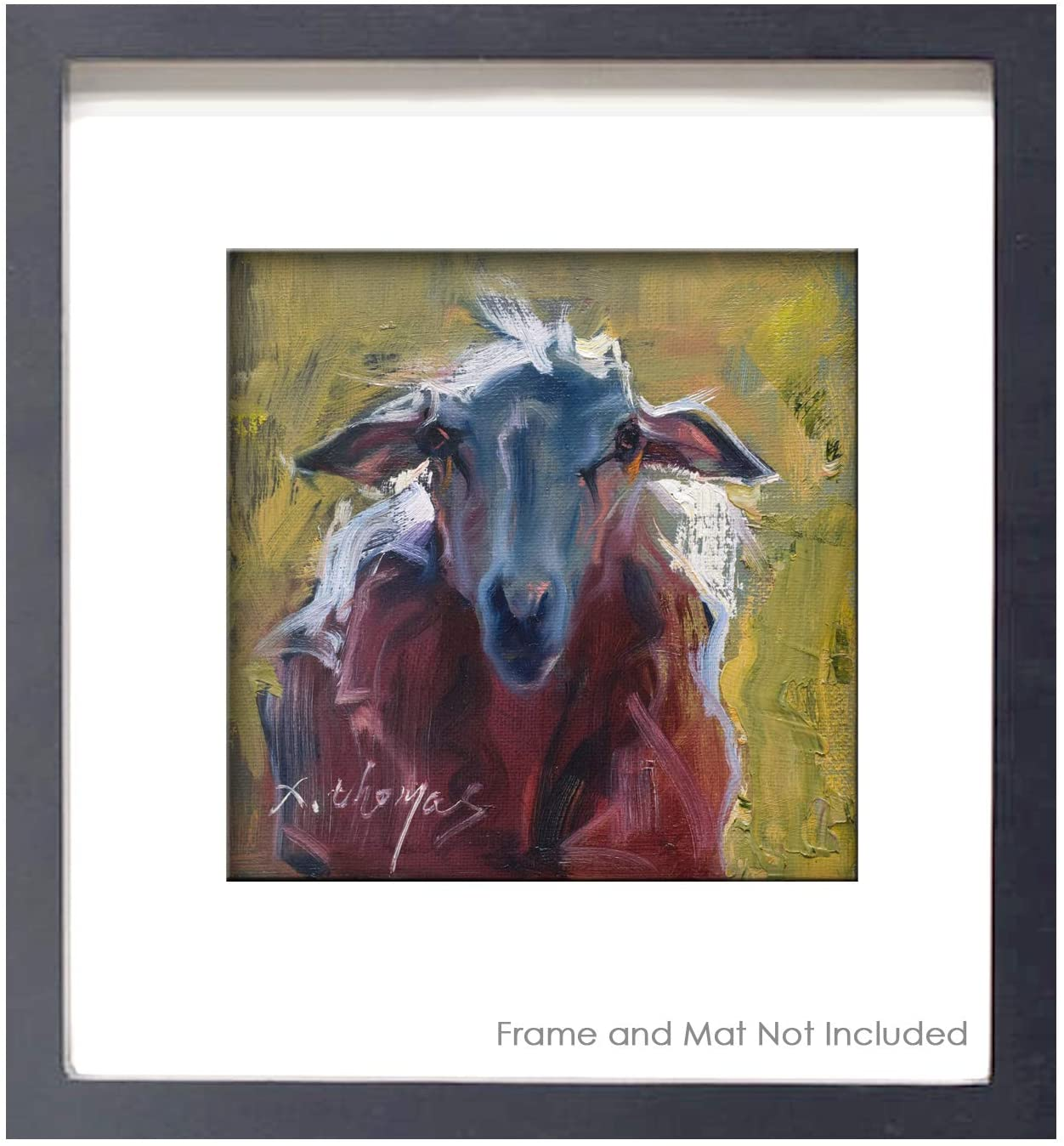 Farm Animal Pictures Wall Art Decor, Sheep Painting Print Poster, Wall Art for Kitchen Bedroom- Unframed, 6x6 inch
