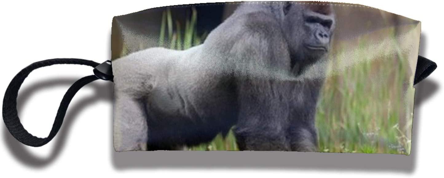 Gorilla In The Green Grass Art Print Pencil Case for Teens Girls Women, School Stationery Accessory Kids Boys Zipper Pouch, Office Organizer Soft Travel ToiletryStand up Makeup Bag Portable Stuff