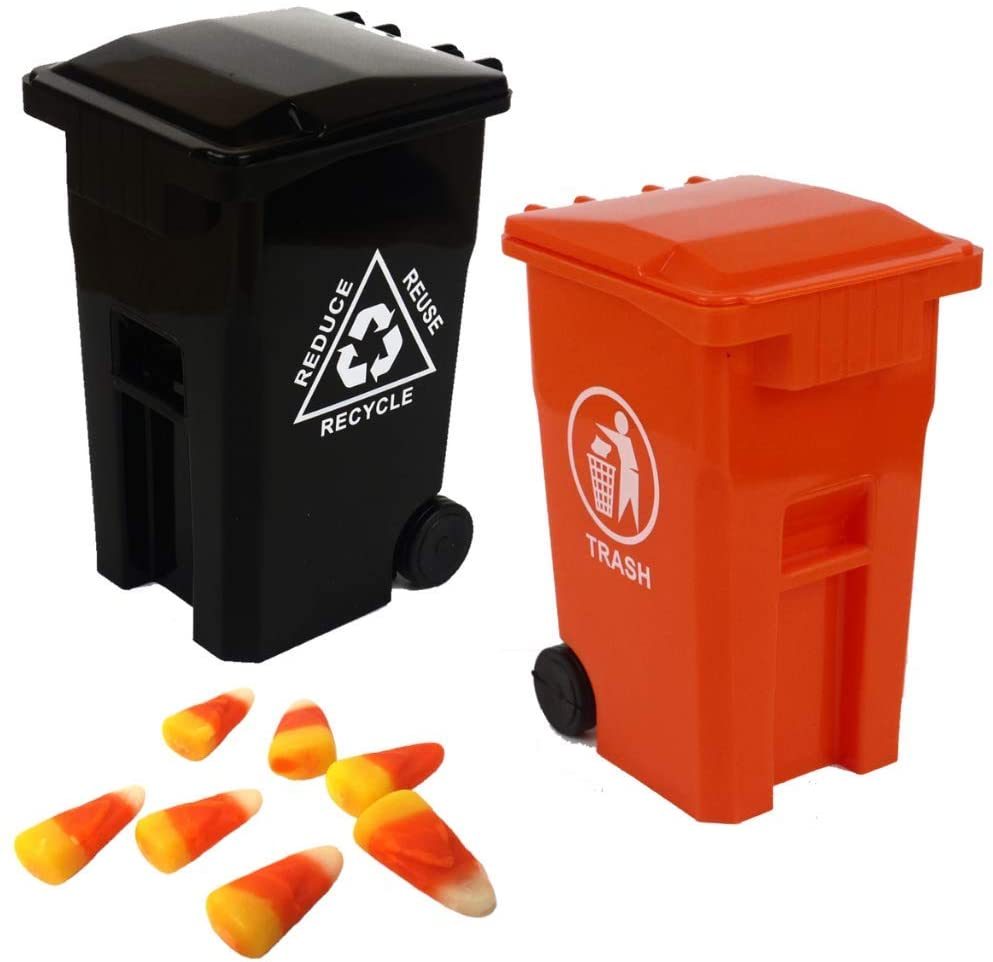 Mini Trash Can Halloween Candy Bin Holder and Unique Tiny Size Recycling Cans Set Pencil Cup Desktop Organizer Black Orange 2-Pack