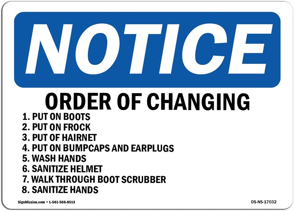 OSHA Notice Sign - Order of Changing 1. Put On Boots 2. Put | Choose from: Aluminum, Rigid Plastic or Vinyl Label Decal | Protect Your Business, Work Site, Warehouse & Shop Area | Made in The USA