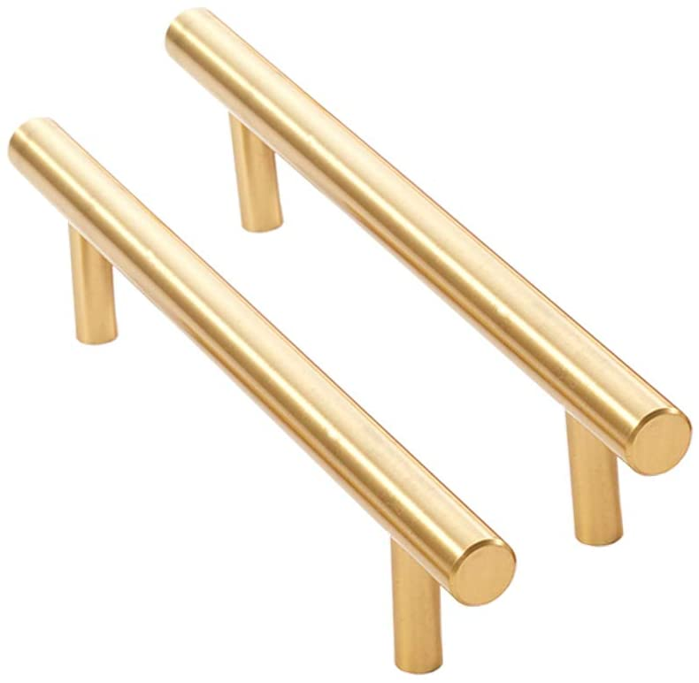 RZDEAL Solid Brass Handles Simple Decorative Brushed Gold Knobs Wardrobe Furniture Hardware Handles and Pulls (2Pcs, 7-1/9x1-3/8)