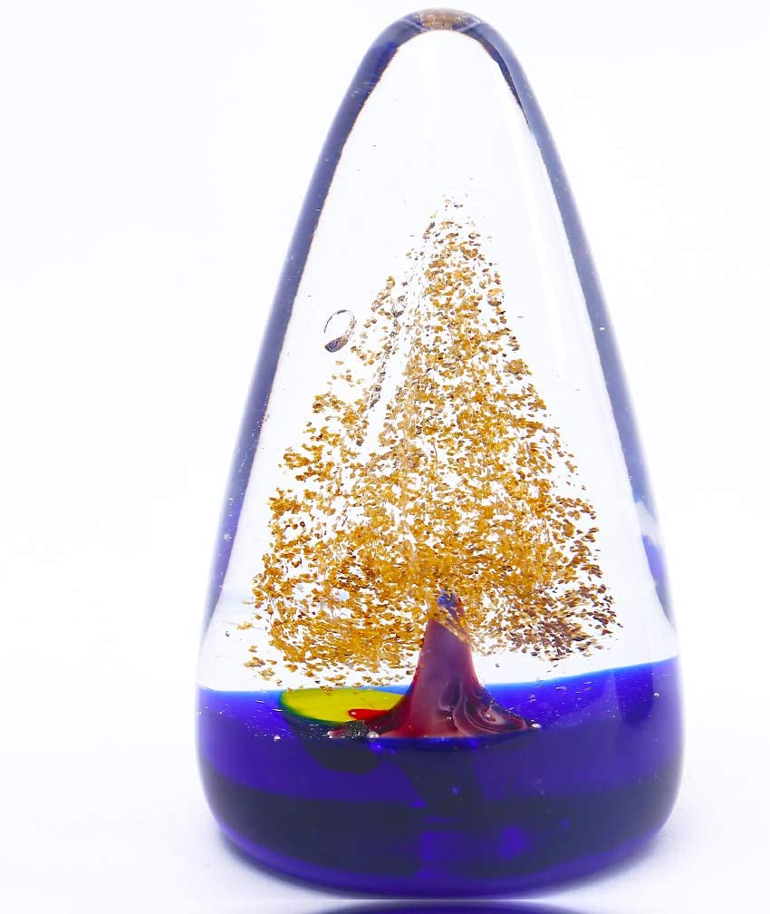EUSTUMA Hand Blown Art Glass Tree Collectible Figurines Best, Glass Tree Paperweight,Christmas Eve Gifts,Home Decoration,Office Decoration.