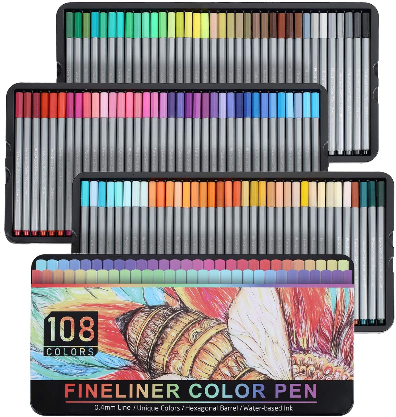 Southsun Fineliner Pens - Set of 108 Colors Fine Point Pens for Bullet Journal, 0.4mm Tip Pens, Art Supplies Colored Pens for Drawings, Journaling, Adult Coloring Book