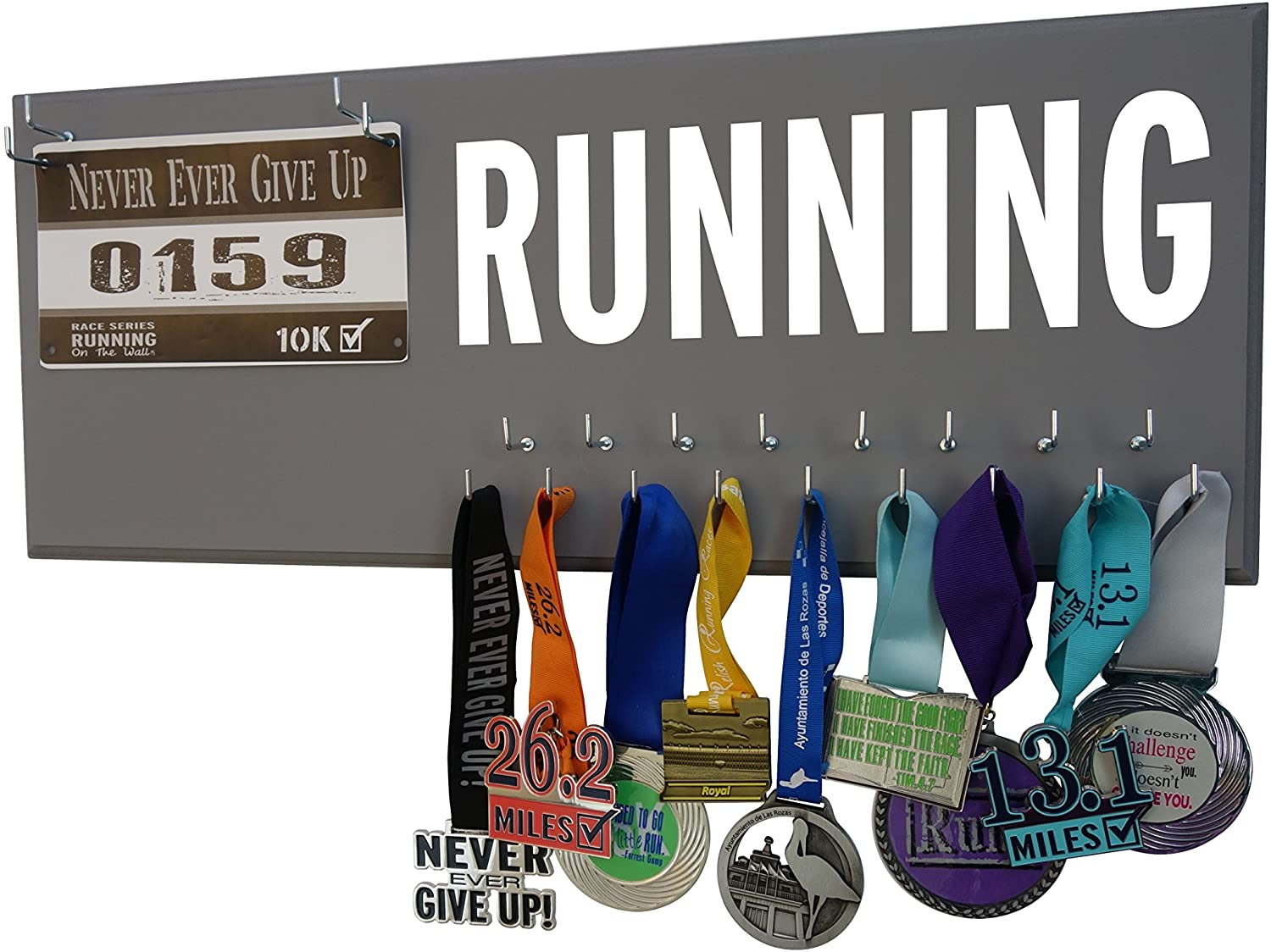 Running On The Wall - Race Bib Medal Display Rack- Wall Mounted Sports Medal Holder Hanger 5K, 10K Marathons Runners - Running Gift
