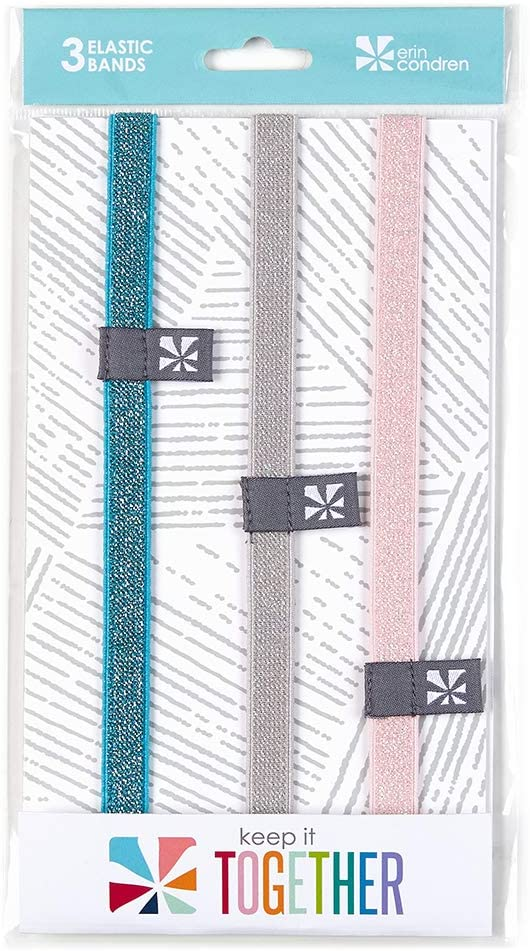 Erin Condren Metallic Elastic Band Trio - 3 Pack. Features Metallic Colors (Pink, Gray, and Blue). Decorative and Secure for Notebooks, Planners, or Organizers