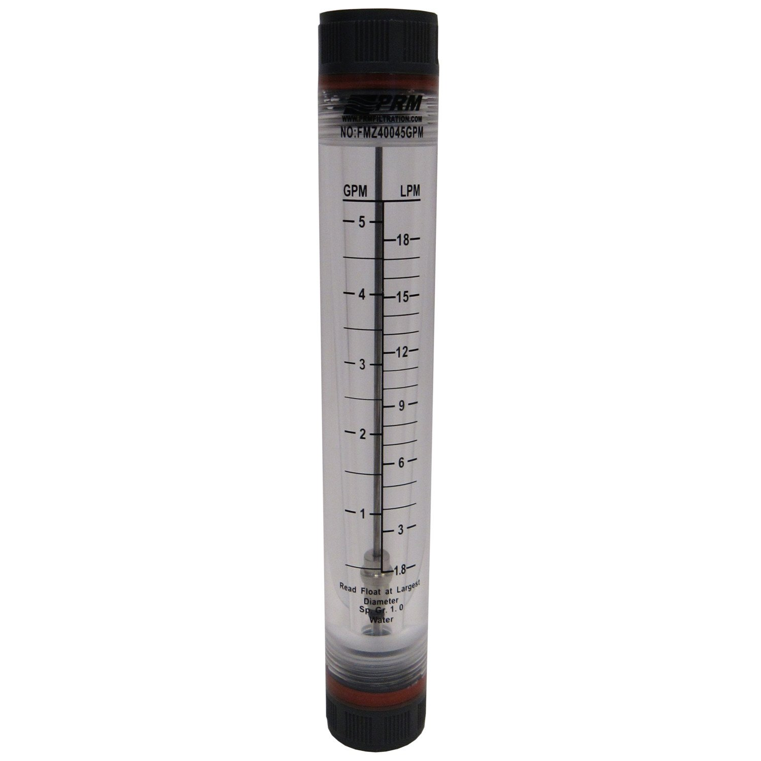 PRM 1-5 GPM Water Rotameter Flow Meter, 1/2 Inch FNPT Connections, UV Resistant