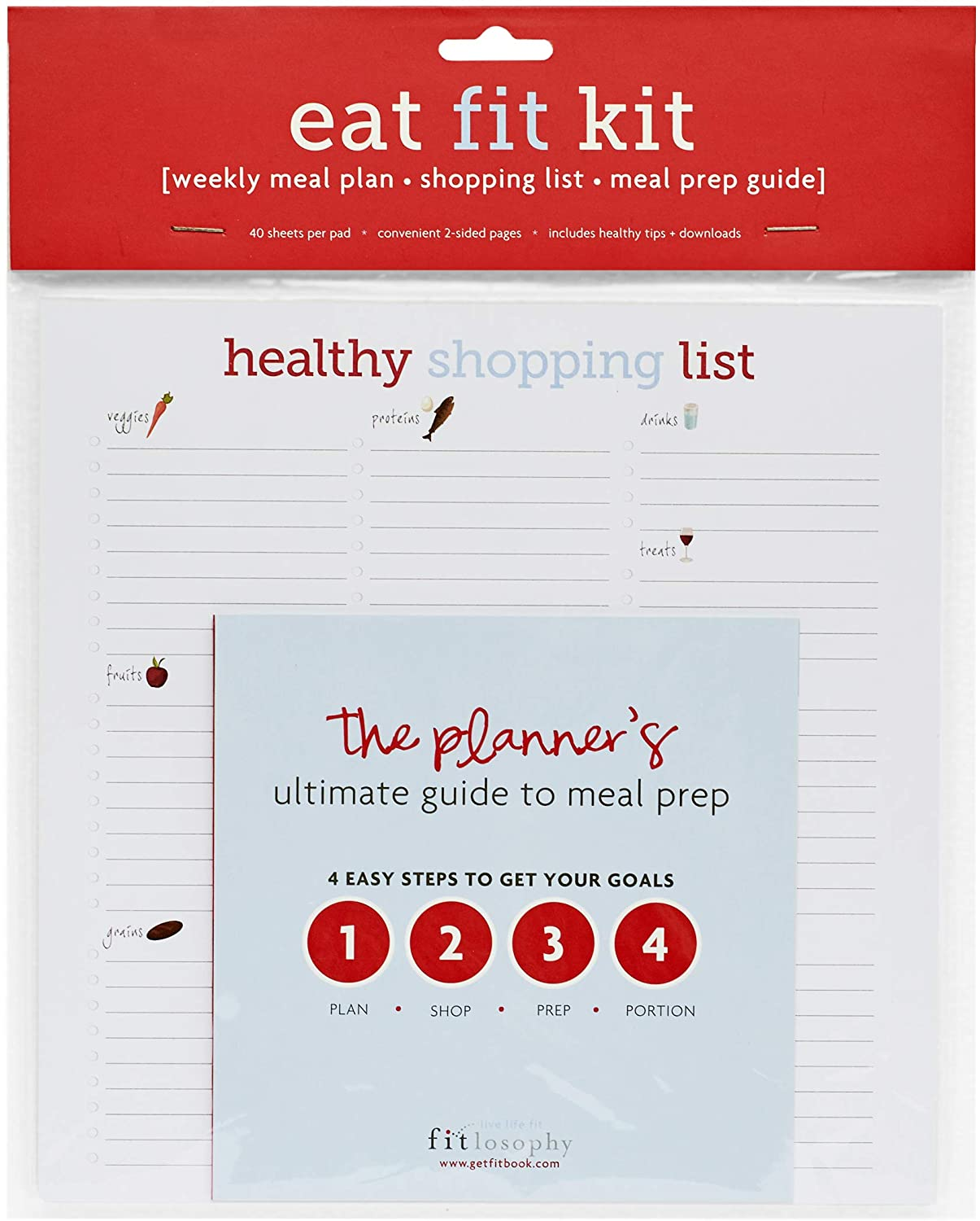 Fitlosophy Eat Fit Weekly Meal Planner, Shopping List and Meal Prep Guide, 40 Pages