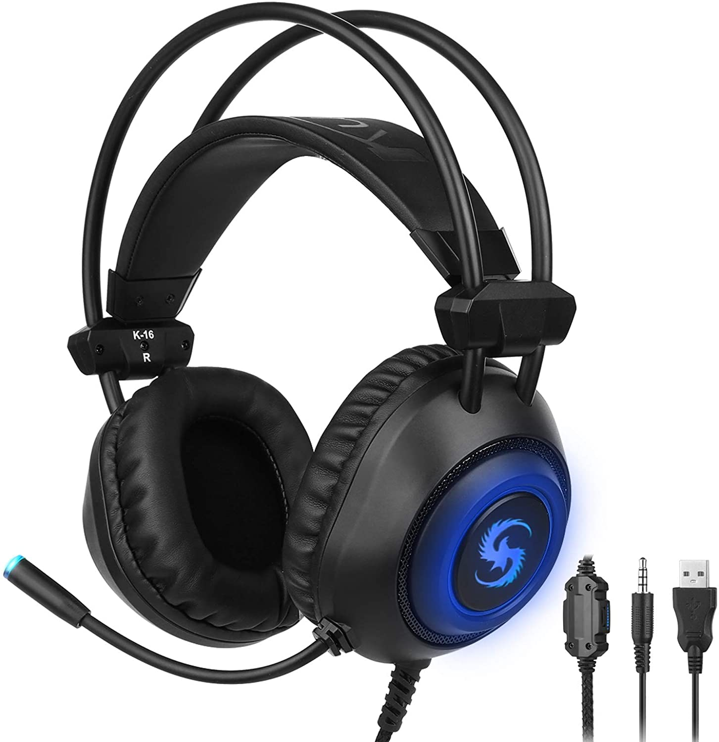 Gaming Headset PS4 Headset Over Ear Headphones Soft Earmuffs Noise Cancelling Stereo Earphone with Mic LED Light Immersive Audio Gamer Gaming Headphone for PS4 PC Laptop Mac NS Computer