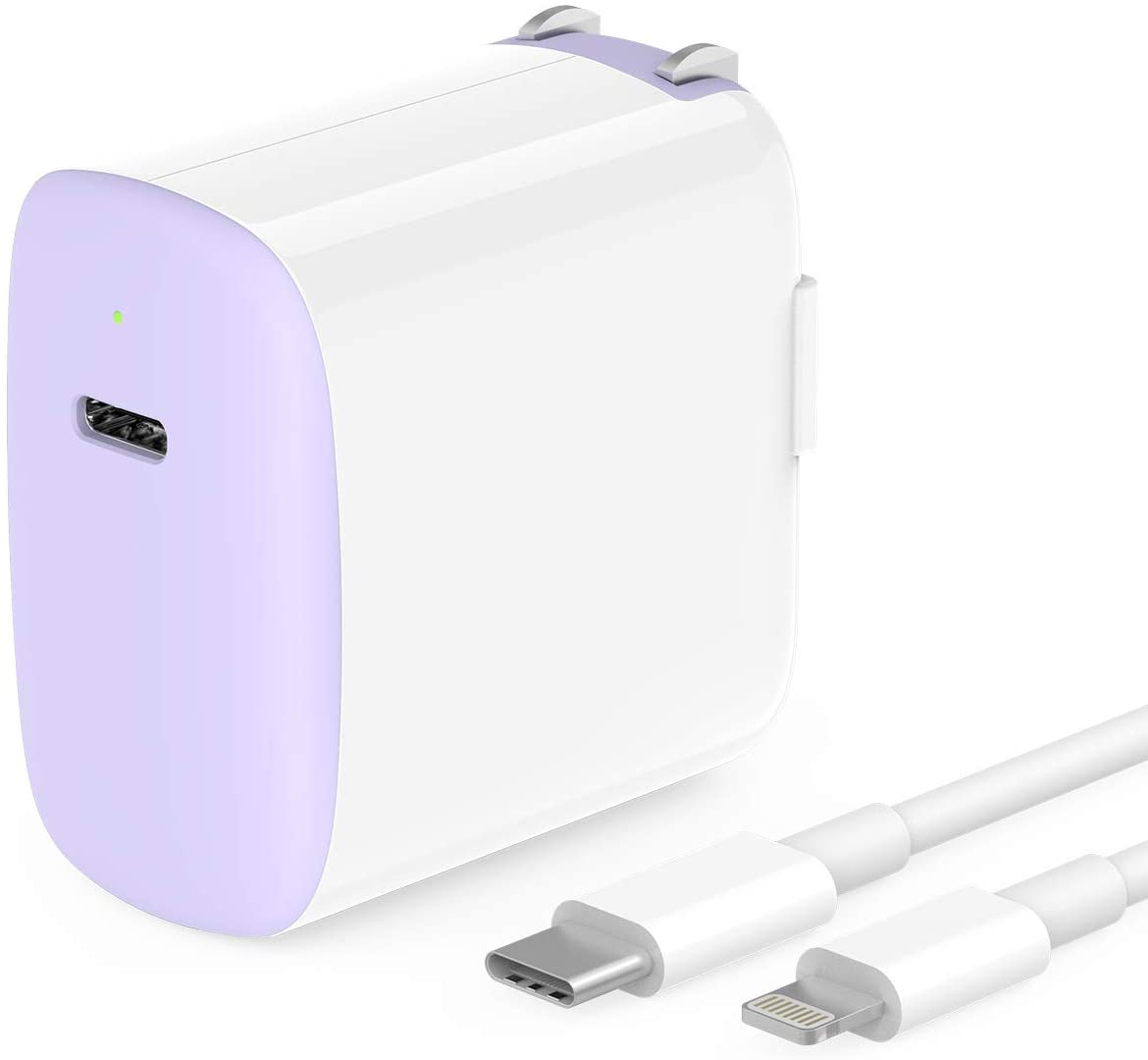 Fast Charger for iPhone 11/11 Pro Max/XR/Xs Max/X/8, iPad Pro 12.9 Gen 1/2, iPad Pro 10.5, iPad 7/Air 3/Mini 5, Apple Certified, 18W USB C, 6.6ft USB C to Lightning Cable, Foldable Plug, LED