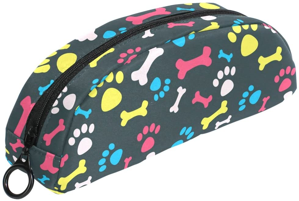 ALAZA Stylish Colorful Dog Paw Pencil Case Stationery Pouch Bag Small Cosmetic Makeup Zipper Bag