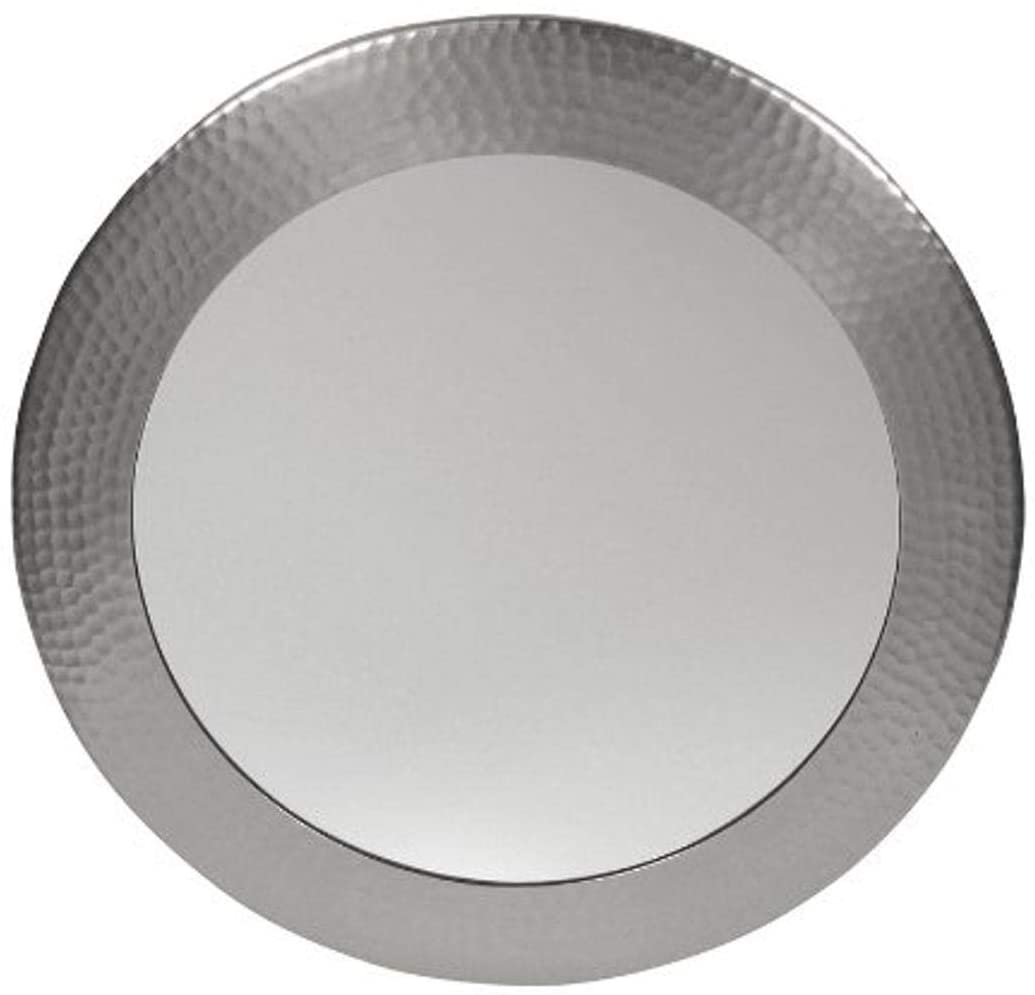 The Copper Factory CF139SN Solid Hammered Copper Framed Round Mirror, Satin Nickel