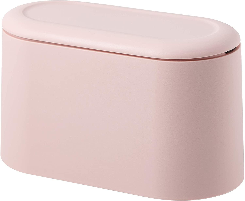 Mini Countertop Wastebasket Press Cartridge Cover Trash Can, Makeup Holder Vanity Bathroom Kitchen Car Desktop Office (Light Pink)