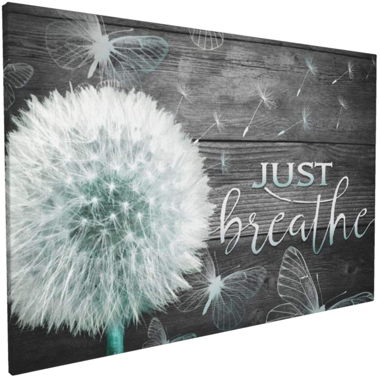 Just Breathe Wall Art Gray Dandelion Canvas Wall Art For Living Room Bathroom Decoration White Flower Flora Dandelion Picture Canvas Prints Artwork Framed Ready To Hang 16x24 Inch