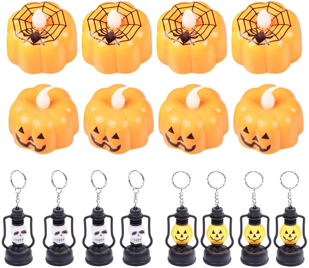 OSALADI 16pcs Halloween Night Light Pumpkin Spider Ghost Tealight Trick or Treat Favors Halloween Goodie Toys for Halloween Carnival Party
