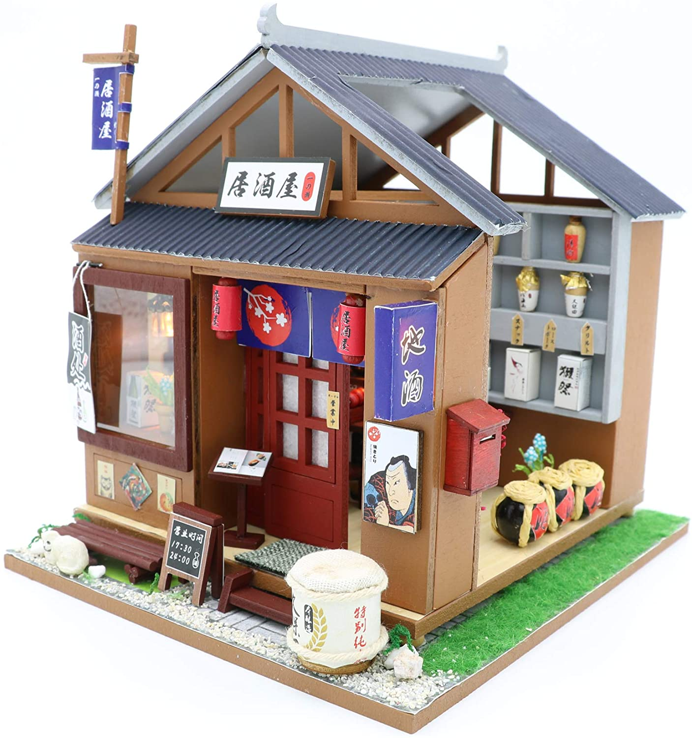 1:24 Cool Beans Boutique Miniature DIY Dollhouse Kit Wooden Japanese Izakaya Bar & Grill Bistro with Dust Cover (English Assembly Instructions) (Japanese Izakaya (Bar & Grill))