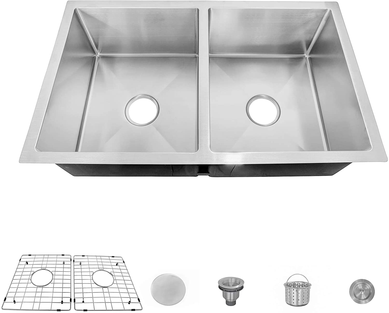 MOCCOA 16 Gauge Stainless Steel Kitchen Sink, Undermount Double Bowl (Pro 32-Inch)