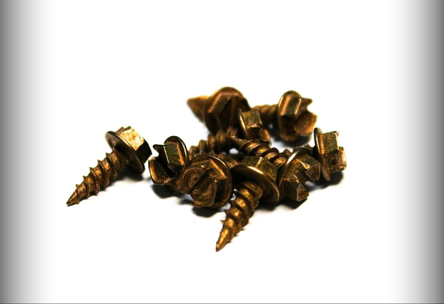 New Package of 100 (pcs) 8 x 1/2 Slotted Hex Head Sheet Metal Screws (Copper Plated) Set #TR-0673F Warranity by Pr-Mch
