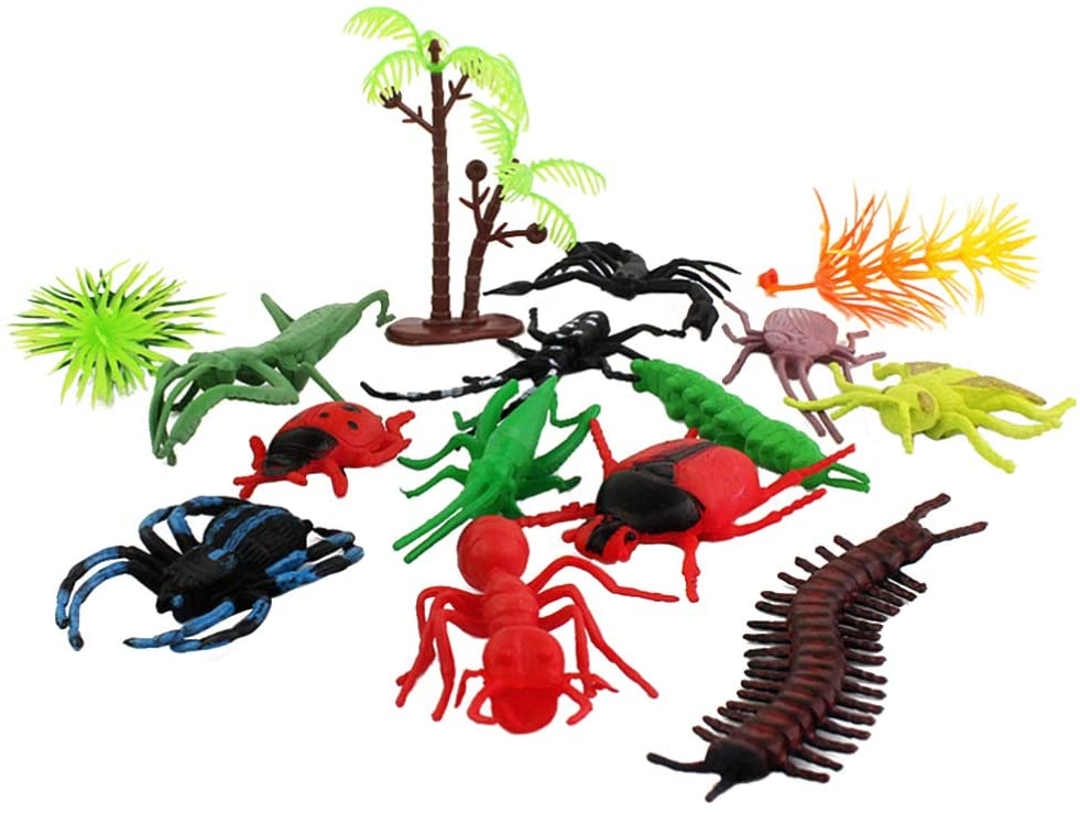 NUOBESTY Mini Realistic Insects Toys for Halloween Plastic Insect Figures Kit Assorted Prank Prop Educational Toy Kids Gift Party Favor 15pcs