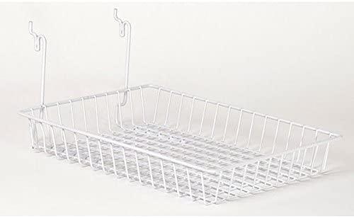 White Basket fits Slatwall,Grid,Pegboard 10w x 14d x 2h - Case of 5