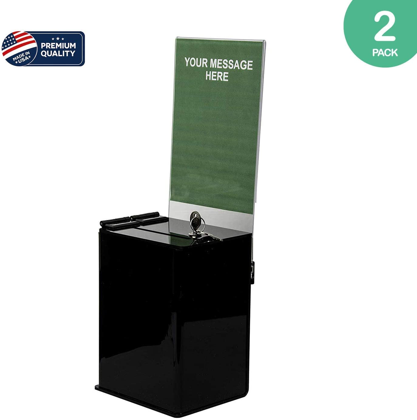 Clear-Ad - Black Acrylic Ballot & Donation Box 5x7x4 with Lock and Sign Holder - Plastic Countertop Container for Voting, Charity, Survey, Raffle, Contest, Suggestions, Tips, Comments (Pack of 2)
