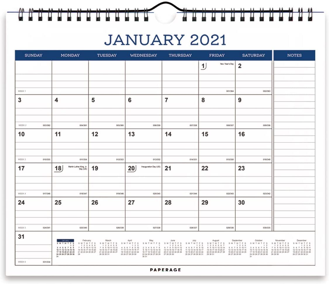 Calendar 2021-12 Months, Wall and Desk Calendar, Premium Thick Paper, Ruled Blocks and Notes, Tear Off Pages, Yearly Plan- Navy Blue Minimal Design- for Office, School - 11.5 in by 14.75 in