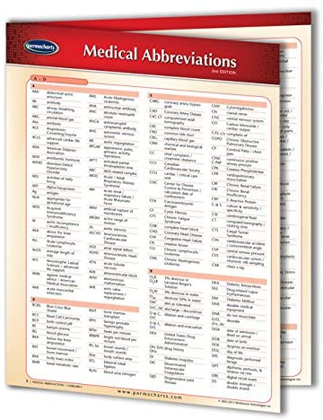 Medical Abbreviations Guide - 8.5 x 11 Medical Quick Reference Guide by Permacharts