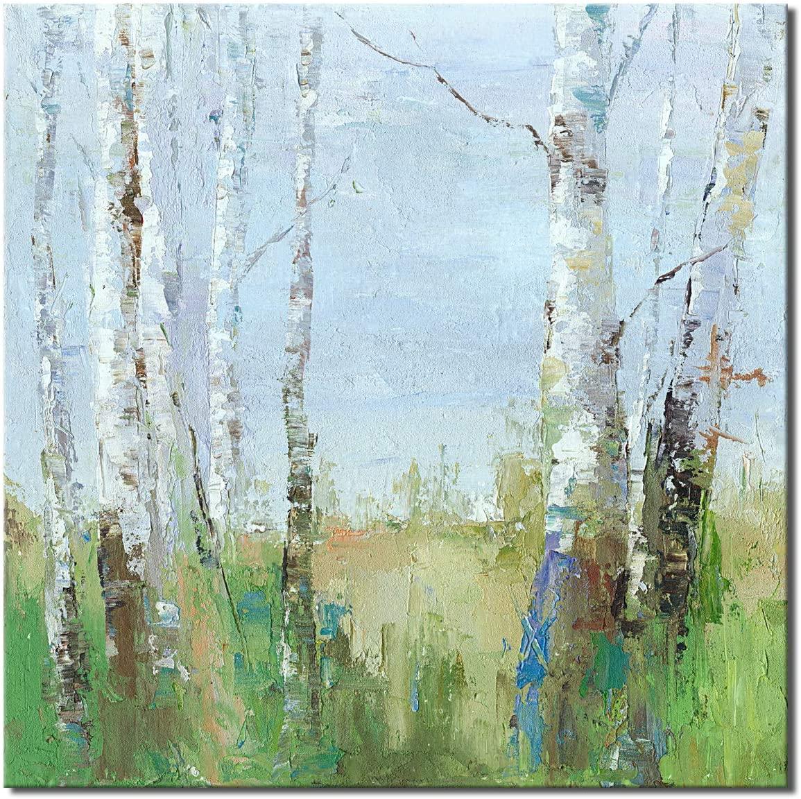 Abstract Landscape Wall Art Modern Birch Tree Canvas Print Forest Artwork for Decor