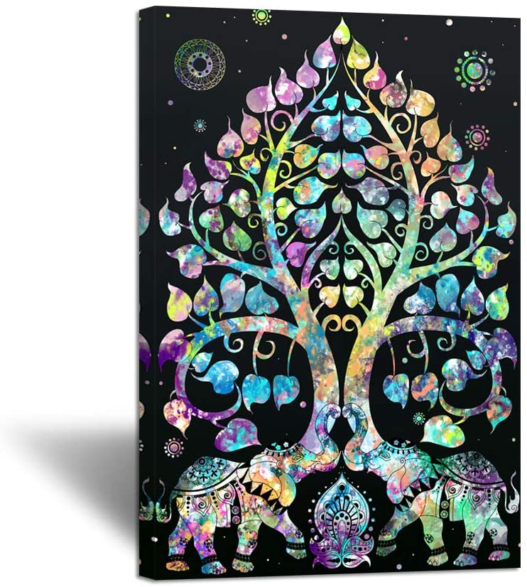 Zlove Large Tree of Life Elephant Animal Canvas Wall Art Abstract Indian Hippie Mandala Bohemian Style Picture Print For Bedroom Home Decor Stretched and Framed Ready to Hang 24x36inch