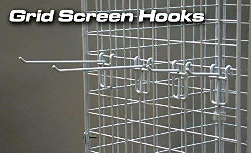 Grid Screen Hook in White Powder Coat 6 Inch Long - Box of 25