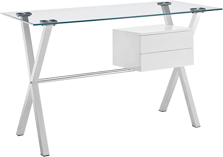 Modern Contemporary Office Desk, White Glass