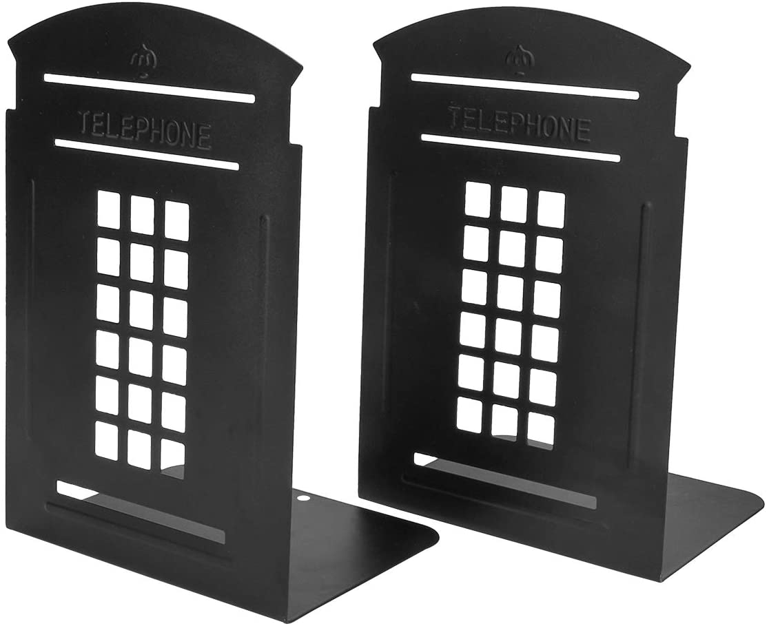 MerryNine Bookends Pair Nonskid Heavy Metal Durable Sturdy Strong Books Organizer Telephone Booth Bookshelf Decor Decorative Bedroom Library Office School Supplies Stationery Gift (Black_1 Pair)