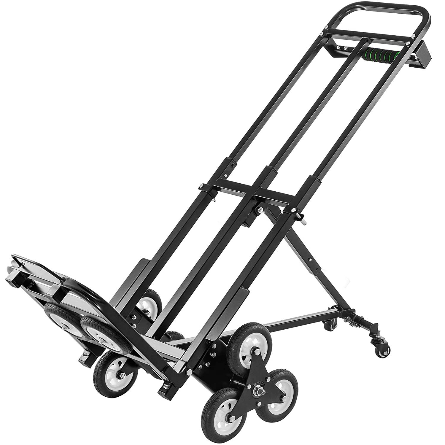 VEVOR Stair Climbing Cart 460lbs Capacity, Portable Folding Trolley with 5Inch and 1.5Inch Wheels, Stair Climber Hand Truck with Adjustable Handle, All Terrain Heavy Duty Dolly Cart for Stairs
