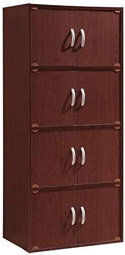Pemberly Row 4 Shelf 8 Door Bookcase in Mahogany