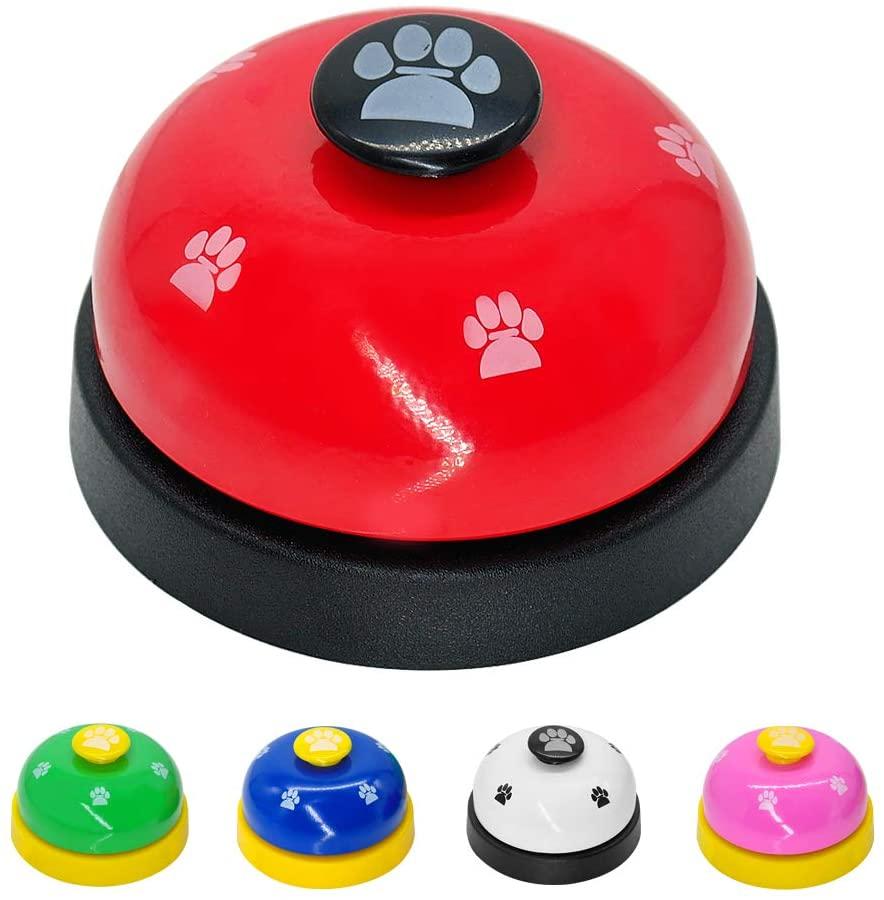 Artshu 2pcs random color Pet Training Called Dinner Small Bell Footprint Ring Dog tools For Puppy Pet Call