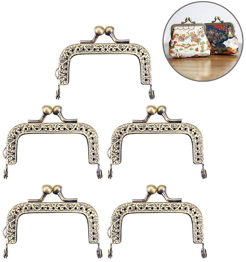 5 PCS Metal Purse Frame Coin Bag Kiss Clasp Lock, Frame Coin Purse for Bag Sewing DIY Craft (Bronze, 6.5cm)