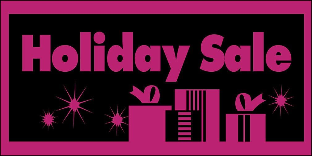 Holiday Sale Pink Black DECAL STICKER Retail Store Sign Sticks to Any Surface