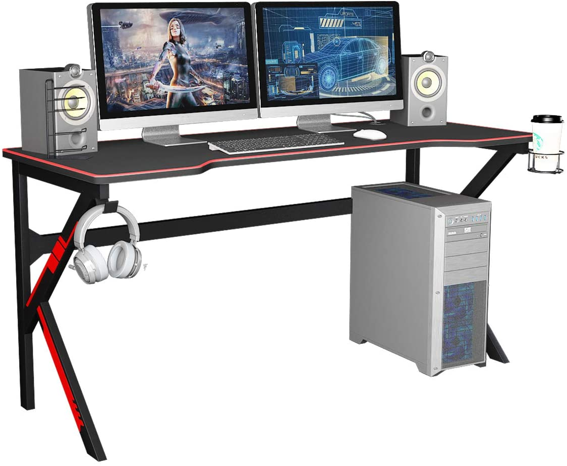 SDHYL 63inches Gaming Table Large Office PC Computer Desk Pro Gamer Desk with Full Cover Mousepad, USB Rack, Headphone Holder and Cup Holder,Black,S7-LJ-1909-160all-CA