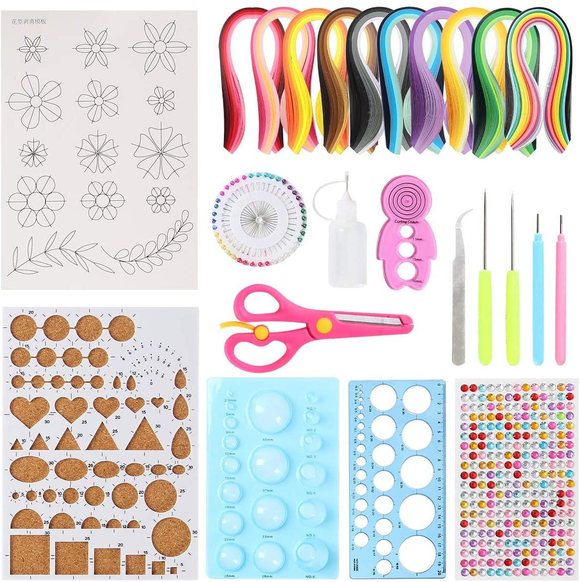Paper Quilling Tools Set, 15 Pcs Paper Quilling Tools, 1060 Strips Paper Quilling Strips for Paper Quilling DIY Handcrafts, Paper Flower Making, Paper Art Craft, Set of 25 (B)