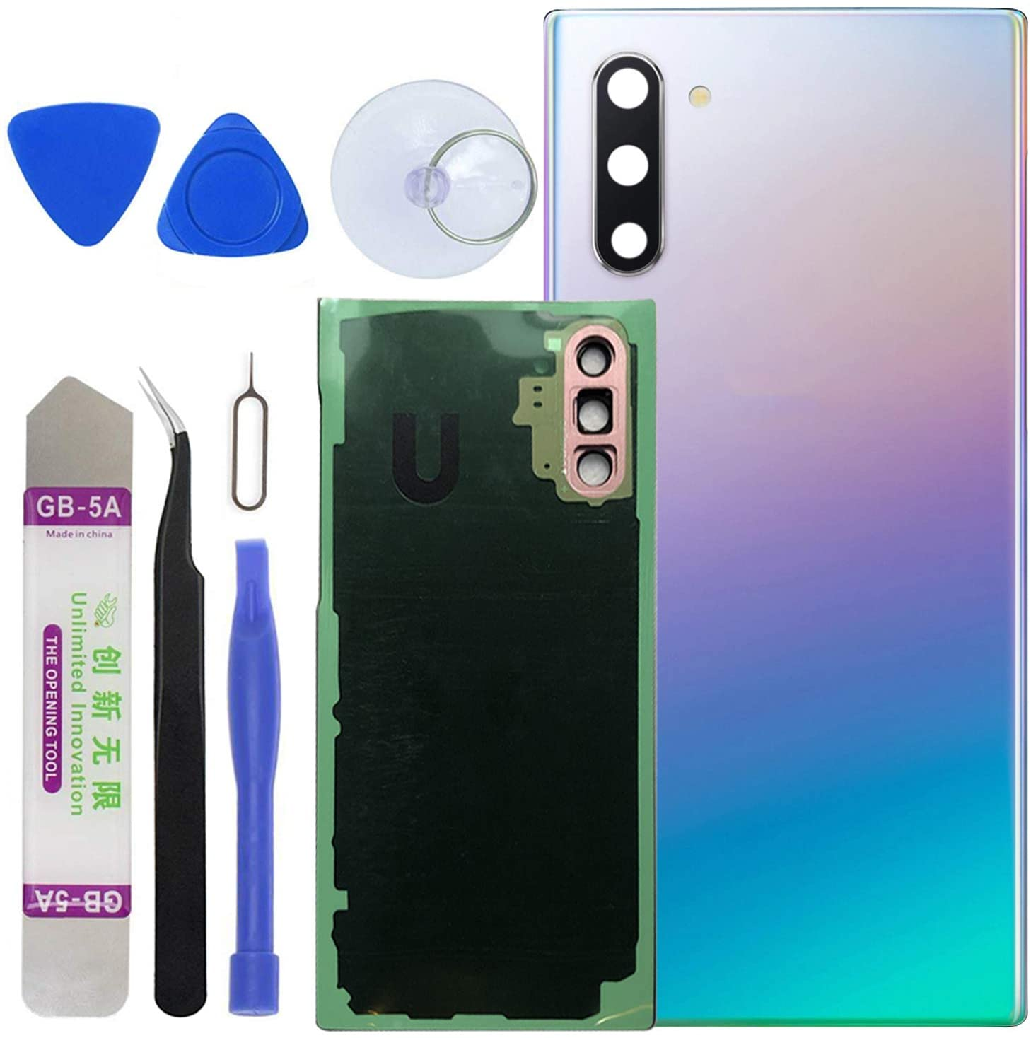 LUVSS Back Glass Assembly for [Samsung Galaxy Note 10] N970 Rear Glass Panel Cover Case Housing Replacement + Camera Lens + Opening Tools Kit [Not for Note 10+ Plus] (Aura Glow)