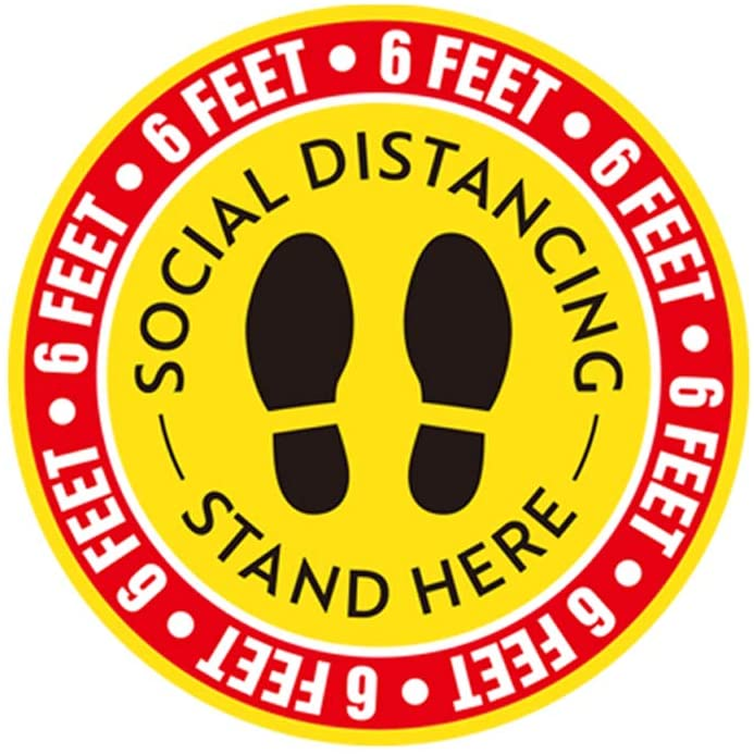 Social Distancing Floor Decoration Stickers - 10 Pack 12 Stand Floor Decal - Safety Distance Floor Sign of 6 Feet Removable Sticker Markers, for Crowd Control Guidance, Pharmacy, Bank, Lab.